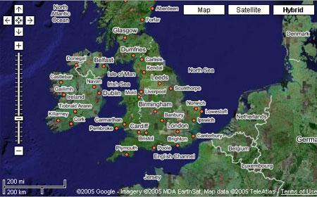 Интерфейс программы Google Maps