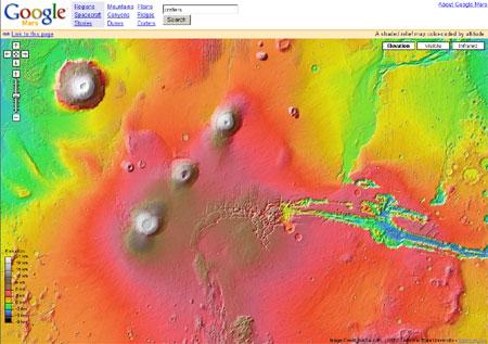 Вид Марса в интерфейсе Mars Google